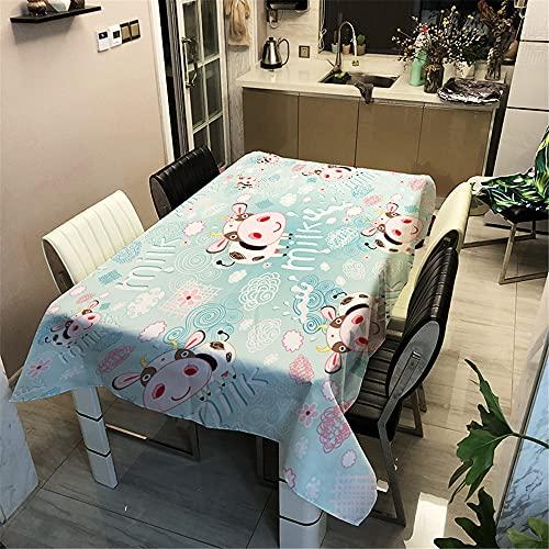 Manteles de Mesa Mantel, Morbuy Rectangular Lindo Animal Impresión 3D Impermeable Antimanchas Lavable Manteles para Cocina o Salón Comedor Decoración del Hogar (Vacas,140x200cm)