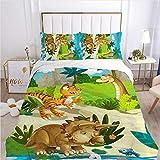 QDoodePoyer Juego de Cama - Juego de Funda Edredón 135x200cm Verde Dibujos Animados Selva Animal con 2 Fundas de Almohada 50x75cm de Microfibra y Suave Juego de Cama para niños y niñas