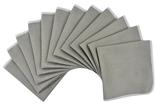 Mikrofaser geschirrtücher Reinigungstücher küchentücher Microfasertuch Fenster putzen Feines Fensterputztuch für Scheiben und Spiegel Glas Putztücher Tücher Streifenfrei 30CM X 30CM 12Stück Grau