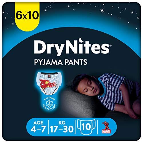 Huggies DryNites hochabsorbierende Nachtwindeln bei Bettnässen, für Jungen 4-7 Jahre, 60 Stück