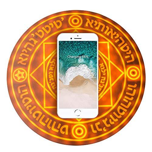 SPAHER [正品 保証付] 魔法陣充電器 円形無線置くだけ充電器 魔法光効 急速充電 対応機種 iPhone8 Plus iPhoneX iPhoneXR iPhoneXS Max Samsung Galaxy Note9 (茶色 5W))