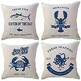 ULOVE LOVE YOURSELF Fundas de almohada decorativas de mariscos frescos para el océano costal, animales, cangrejo pescado pulpo langosta decoración...