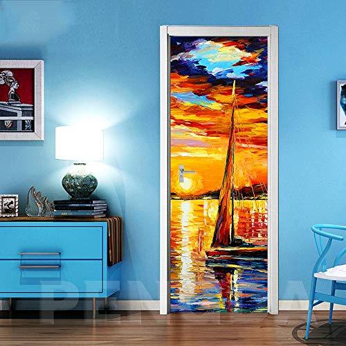 Deurbehang zelfklevend deurposter 3D effect fotobehang creativiteit bij het zeilen op zee deur, poster slaapkamer keuken woonkamer afneembaar waterdicht behang 90x210cm