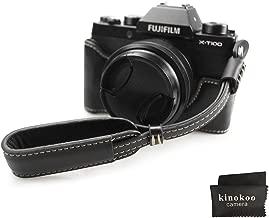 Fuji X-T100 Case  kinokoo Bottom Case for FUJIFILM X-T100 Camera  Half Cover Hand Grip with Wrist Strap  black-set