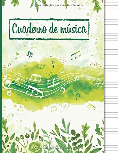 Cuaderno de música: Cuaderno de pentagramas, papel pautado de pentagramas - 120...