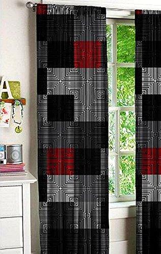 Latitude Geo Blocks Window Curtain Panel Pair, 52x63, Black