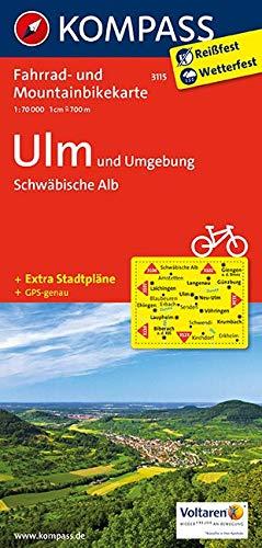 KOMPASS Fahrradkarte Ulm und Umgebung - Schwäbische Alb: Fahrrad- und Mountainbikekarte. GPS-genau. 1:70000 (KOMPASS-Fahrradkarten Deutschland, Band 3115)