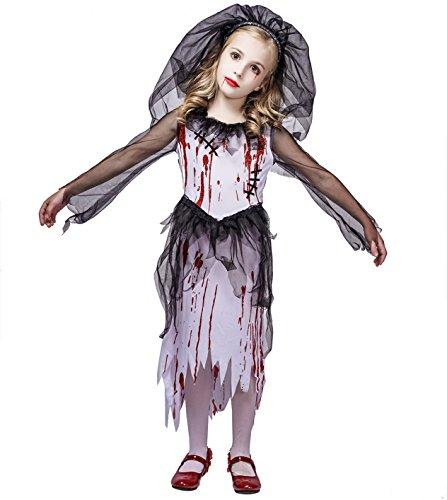 SEA HARE Mädchen Blutige Geisterbraut Halloween Kostüm Outfits (M :7-9 Jahre)