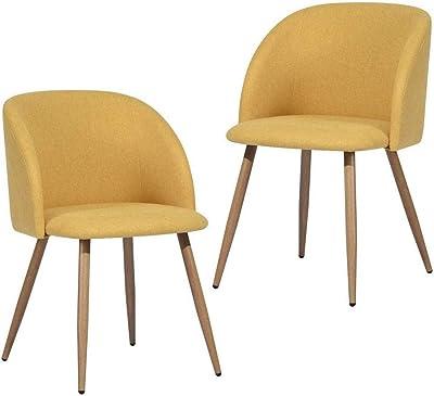 MEUBLE COSY Chaise de Salle à Manger Lot de 2 Chaise de Cuisine Fauteuils Assise rembourrée en Tissu Pieds en métal Stable, Jaune