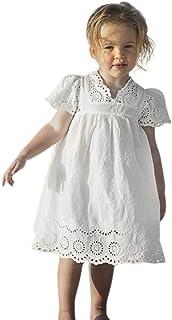 Taore Kids Baby Girls Retro Floral Print Lace Princess Hollow Dress Clothes Sundress