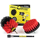Scrub Brush - Grout, Concrete, Granite Cleaner - Drill Brush Stiff Bristle Set - Cleaning Supplies - Mold, Mildew, Algae Remover - Water Fountain Outdoor - Deck Brush - Headstones, Statues, Bird Baths