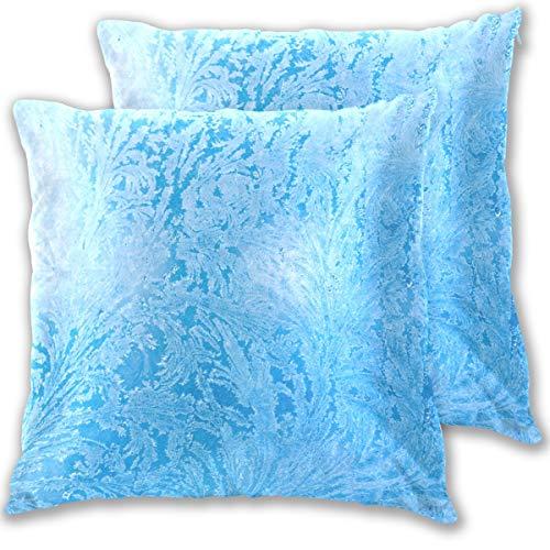 SAIAOS Federe per Cuscino,Frost Glass Pattern Ice Frozen 50x50cm Fodera per Cuscini,Set di 2 Cuscino per Soggiorno Sedia Divano