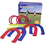 Nattork Horseshoe Set - Plastic Horseshoes and Ring Toss Game Set Beach Games,Camping,Backyard,Fun for Kids Adults