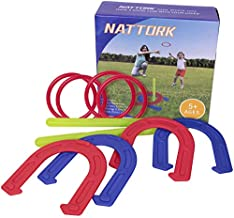 Nattork Horseshoe Set - Plastic Horseshoes and Ring Toss Game Set Beach Games,Camping,Backyard,Fun for Kids Adults
