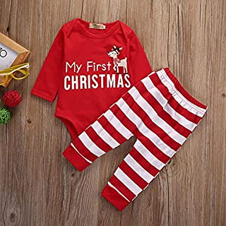 Zmond - Newborn Baby Girl Clothes Infant Christmas Pajamas Children's Winter Rompers Overalls Outfits+Pants 2PCS Outfits D...