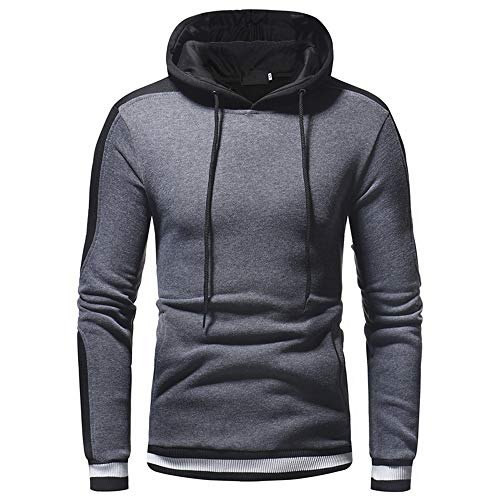 Men's Hooded Sweater Long Sleeve Hoodie Sweatshirt Sweat Jacket Casual Soft Comfortable Pullover Patchwork Fashion Sports top with Drawstring Warm top Autumn and Winter New Hoodie XL