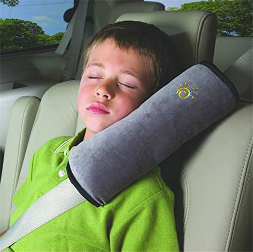 Seatbelt Pillow, Pillow Shoulder Cover Pad for Car Children Baby Safety Strap Plush Soft Cushion Headrest Neck Support Kids Car Seat Belt Covers for Baby Car Belt Pillow Car Seat Belt Covers (Gray)