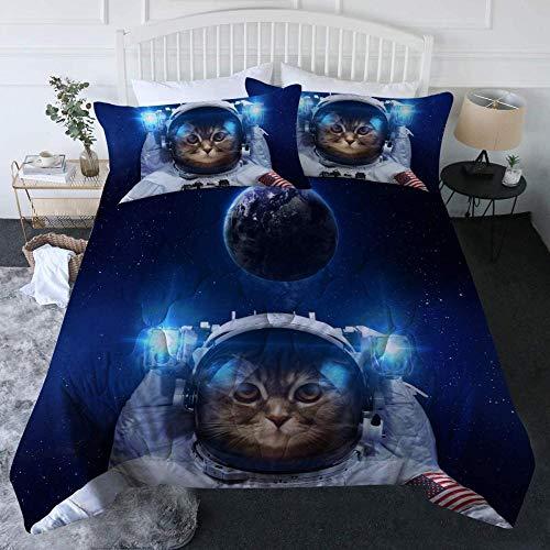 dsgsd Funda nórdica infantil funda doble individual Astronauta creativo animal gato espacio exterior 180x220cm Juego de ropa de cama de estilo simple, funda de edredón suave, sábana, fundas de almohad