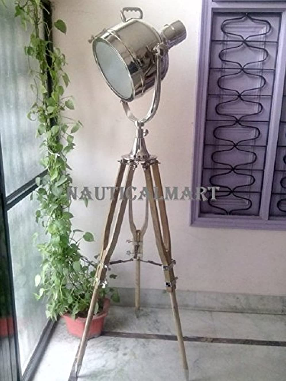 Nauticalmart Tripod Spot Light/Tripod Floor Lamp/Nautical Floor Lamp/Nickel Plated Floor Lamp
