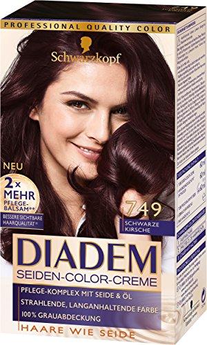 Schwarzkopf Diadem Seiden-Color-Creme 749 Schwarze Kirsche Stufe 3, 3er Pack (3 x 180 ml)