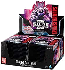 Each War for cyberton: Siege II sealed booster display box includes 30 booster packs and a trypticon pack. The trypticon pack contains one titan-sized trypticon character card and three large character cards as his minions: brunt, full-tilt, and wipe...