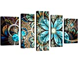 QICAI 5 Panel Blue Flower Canvas Wall Art Abstract Dark Yellow and Blue Fractal Flower Wall Decor Flower Painting Flower Canvas Wall Art for Bedroom Home Wall Decor Stretched and Framed Ready to Hang