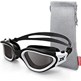 Swimming Goggles, ZIONOR G1 Polarized Swim Goggles UV Protection Watertight Anti-fog Adjustable Strap Comfort fit for Unisex Adult Men and Women (Polarized Smoke Lens Black White)