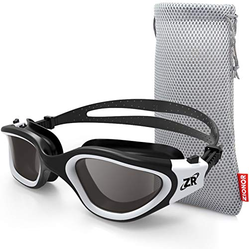ZIONOR Swimming Goggles, G1 Polarized Swim Goggles UV Protection Watertight Anti-Fog Adjustable Strap Comfort fit for Unisex Adult Men and Women (Polarized Smoke Lens Black White)