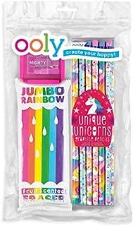 Ooly Happy Pack, Graphite Pencils + Sharpener + Erasers - Unicorns