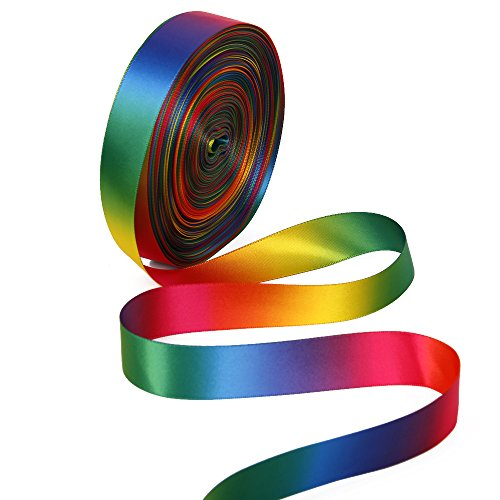 Satin Ribbon Gradient Rainbow Color Double Side Colorful Printed 50 Yard a Roll 1