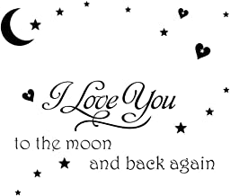 Homefind I Love You to the Moon and Back Again Wall Saying Decals Good Night Removable Vinyl Art Quote Stickers for Kids Room Living Room Bedroom Nursery Black 23.6