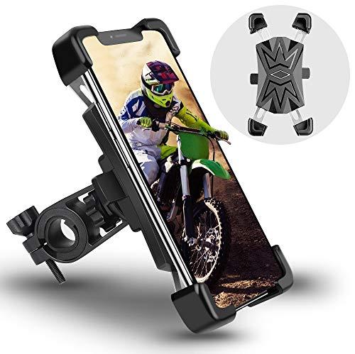 Handyhalterung Fahrrad Automatisches Schrumpfen für 4.5-7.2 Zoll Smartphone Motorrad Handyhalterung Handyhalter Handy Fahrradhalterung Edelstahl mit 360° Kugelgelenk Anti-Shake Abnehmbare Für Lenker