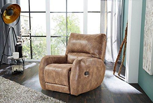 lifestyle4living Fernsehsessel, Sessel, Relaxsessel, Liegefunktion, Verstellbar, Microfaser, Antiklederoptik, Körperdruckverstellung, braun