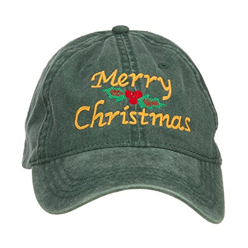 e4Hats.com Merry Christmas Mistletoe Embroidered Washed Dyed Cap - Dk Green OSFM