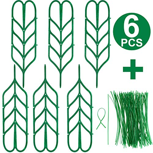 Boao 6 Pieces Garden Trellis Mini Climbing Trellis Leaf Shape Plant Support DIY Flower Pot Support and 100 Pieces Long MetalliTwist Ties for Pea Vegetable Clematis Vines Potted Plant Support