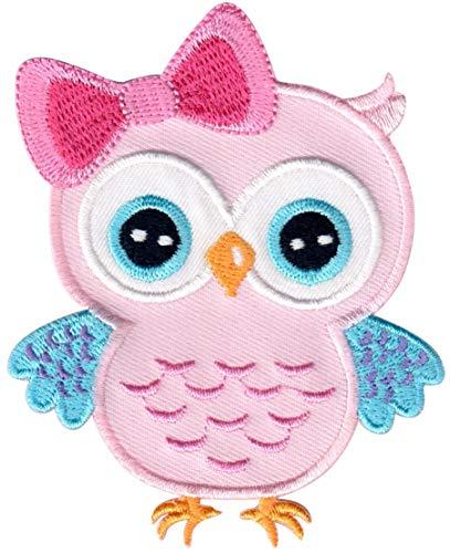 PatchMommy Eule Rosa Blau Patch Aufnäher Applikation Bügelbild - zum Aufbügeln oder Aufnähen - für Kinder/Baby