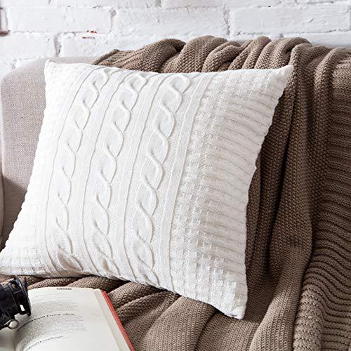 LLWYH Fundas para Cojines De Almohada Decorativas Botón De Algodón De Punto Sala De Estar Sofá Dormitorio Funda De Almohada Cuadrada 45 X 45 cm Blanco