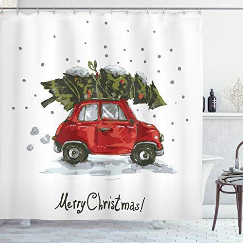"Ambesonne Christmas Shower Curtain, Retro Style Car Xmas Tree Vintage Family Style Illustration Snowy Winter Art, Cloth Fabric Bathroom Decor Set with Hooks, 70"" Long, Green Vermilion"