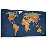 Blue World Map Wall Art Abstract Prints Paintings on Canvas Contemporary Home Decor Artwork Pictures for Office Decorations