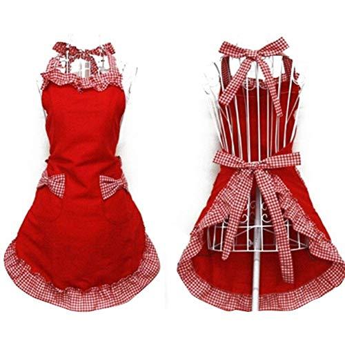 yaya Bib schort jurk Flirty Vintage Keuken Womens Strik met Pocket Gift