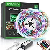 PHOPOLLO LED Strip Lights, 32.8ft RGB(No White) Color Changing 3528 600LEDs Waterproof Flexible LED Tape Light Kit with 24 Key IR Remote Controller and 12V Power Supply for Room, Bedroom and Xmas