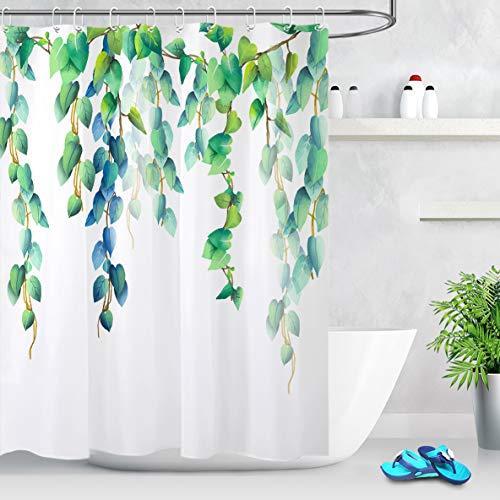 LB Watercolor Blue Green Leaves Shower Curtain Floral Decorative Fresh Spring Mint Green Leaf Plants Botanical Shower Curtains for Bathroom 60x72 Inch Waterproof Polyester with 10 Hooks