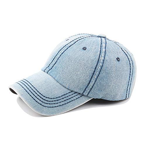 No-branded HOUJHUS Clásico Retro Gorra de béisbol Otoño Primavera Señoras Hombres Washed Denim Moda Gorra de béisbol Hombres Ocio Ocio (Color : Azul Claro, Size : 56-60CM)