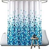 wiipara Duschvorhang, Wasserfeste Blaue Blume Bad Vorhang aus Polyestergewebe Waschbar Badewanne Vorhang Duschvorhang Textil mit 12 Duschvorhangringe fürs Badezimmer (180 x 180 cm)