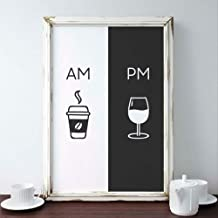 Wangjingxi Am Coffee Pm Wine Sign Print Kitchen Poster Home Wall Art Decor Coffee & Wine Art Canvas Painting Wall Picture ...