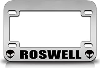 Custom Brother - ROSWELL Aliens UFO Metal MOTORCYCLE License Plate Frame Chr
