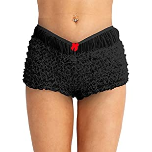 TiaoBug Women Lace French Maid Ruffled Panty Underwear Frilly Knickers Boy Shorts Hot Pants Black One Size