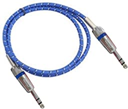 KKmoon Prático 6.35mm Trançado Azul Cabo de Áudio Flexível 6.35 Jack Macho para Macho Cabos Auxiliares para Guitarra Mixer...