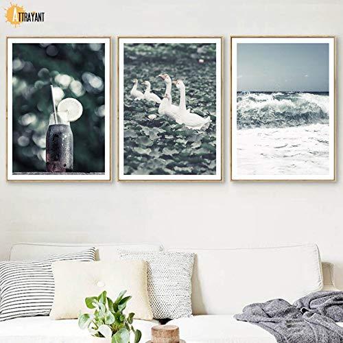 oioiu Ye Haixin Quotes Goose Animal Print Wall Art Canvas Painting Carteles nórdicos y Grabado Imagen de...