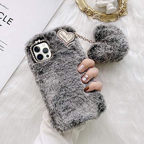 aowner Compatible with iPhone 12 Pro Max 6.7 Inch Plush Furry Case with Cute Heart Ball Soft Handmade Hair Fluffy Fuzzy Slim Shock Absorption Silicone Shell for Women Girls Protective Cover Case